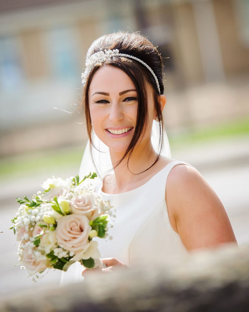 bride smiles at Lincoln photographer