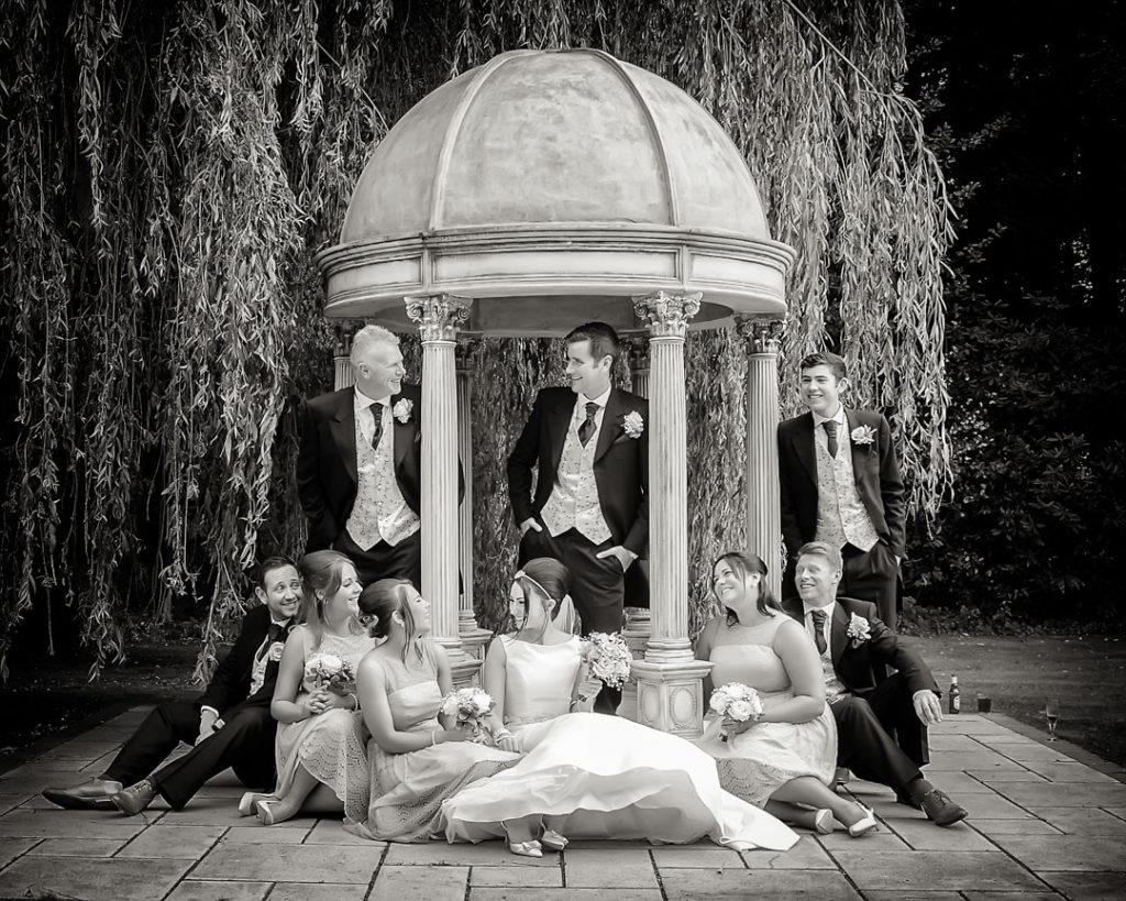 bridal party pose at dower house hotel