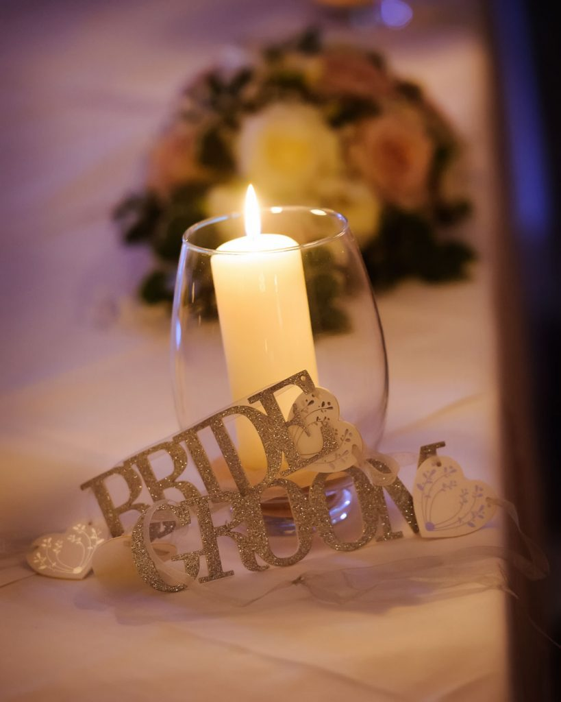 candle on wedding table