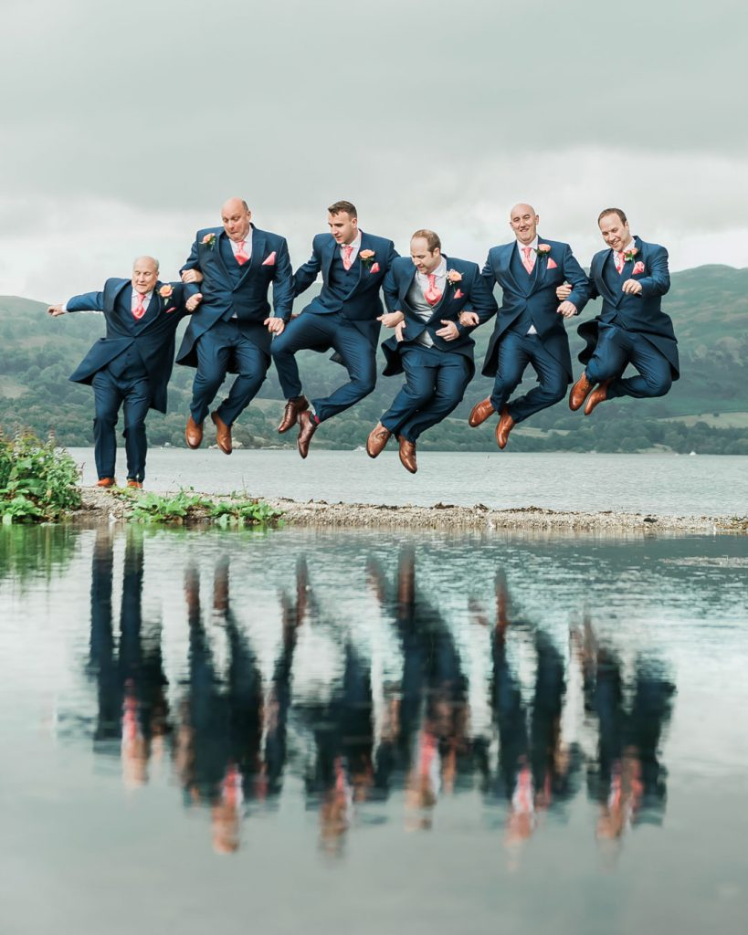 groomsmen jumping for grimsby wedding photographer