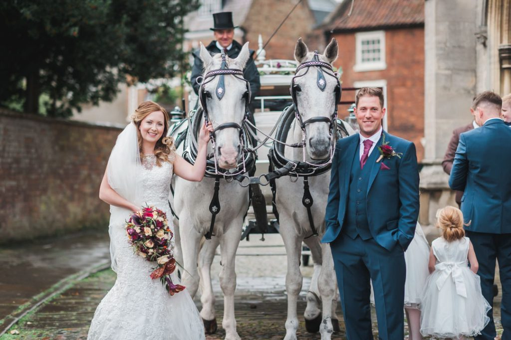 horse drawn carriage outside of church wedding louth