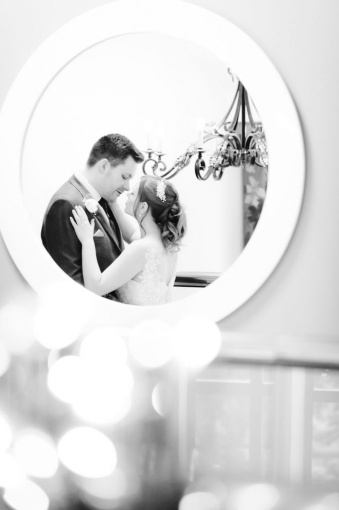 wedding couple in mirror
