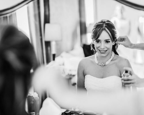 bride getting ready at hemswell court lincolnshire