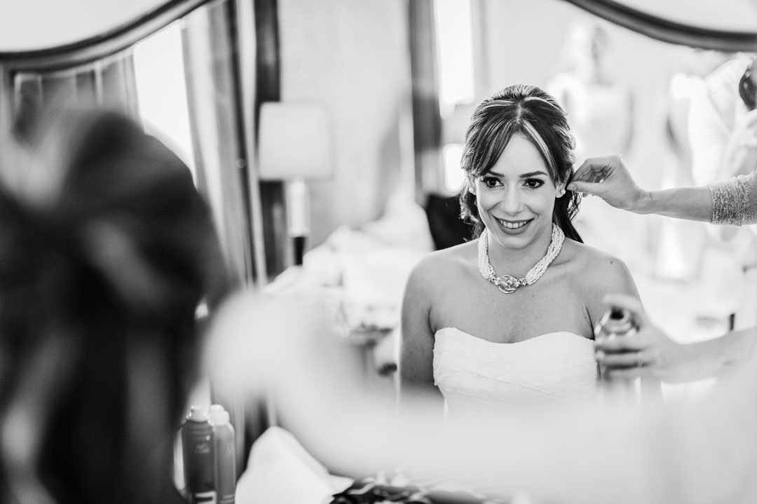 bride getting ready at a hemswell court wedding lincolnshire