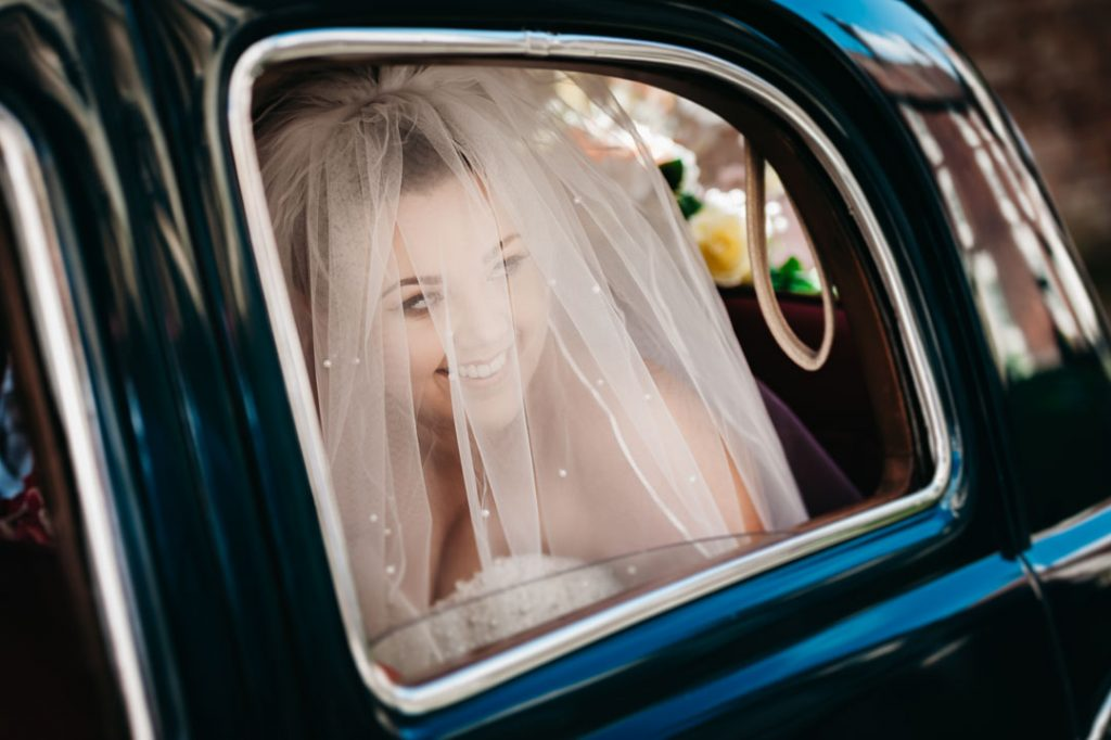 bride arrives in wedding car grimsby
