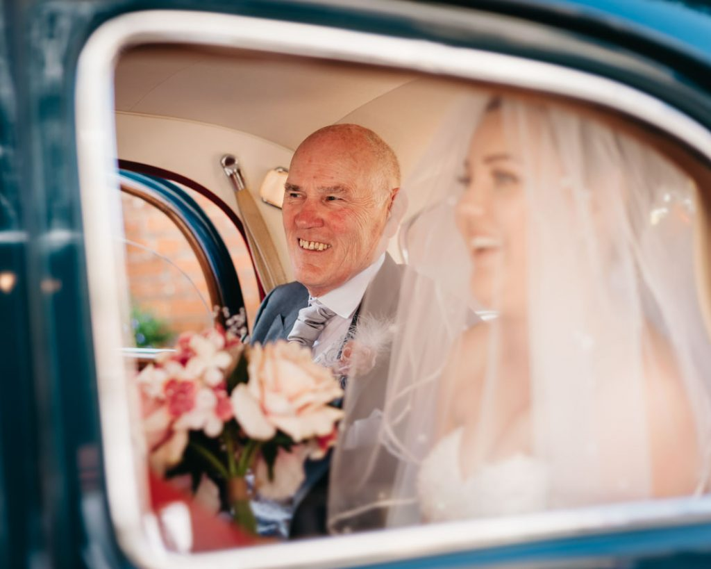 father of the bride in wedding car grimsby