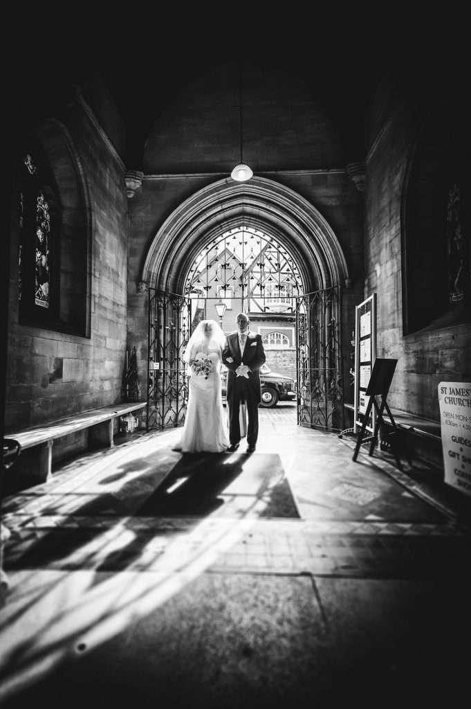 bride entering st james church