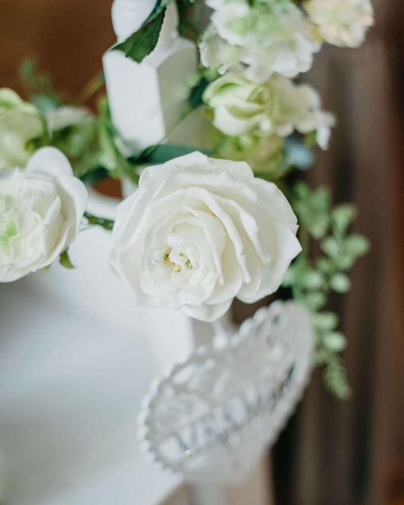 white flower at wedding