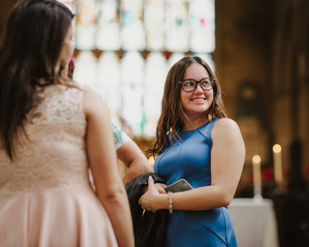 wedding guests smiles at church
