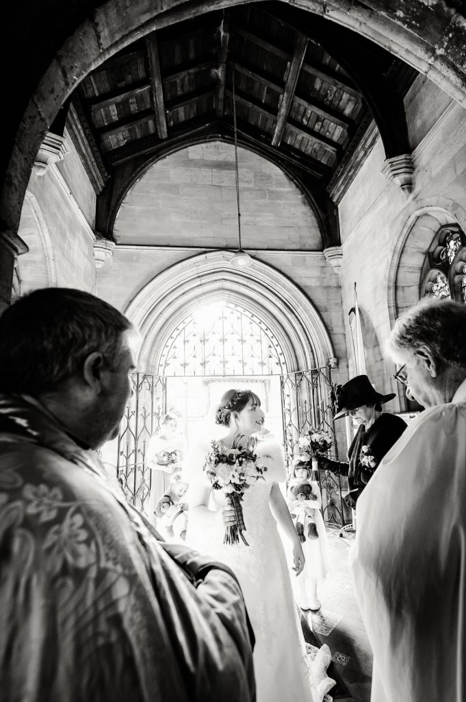 bride entering st james church