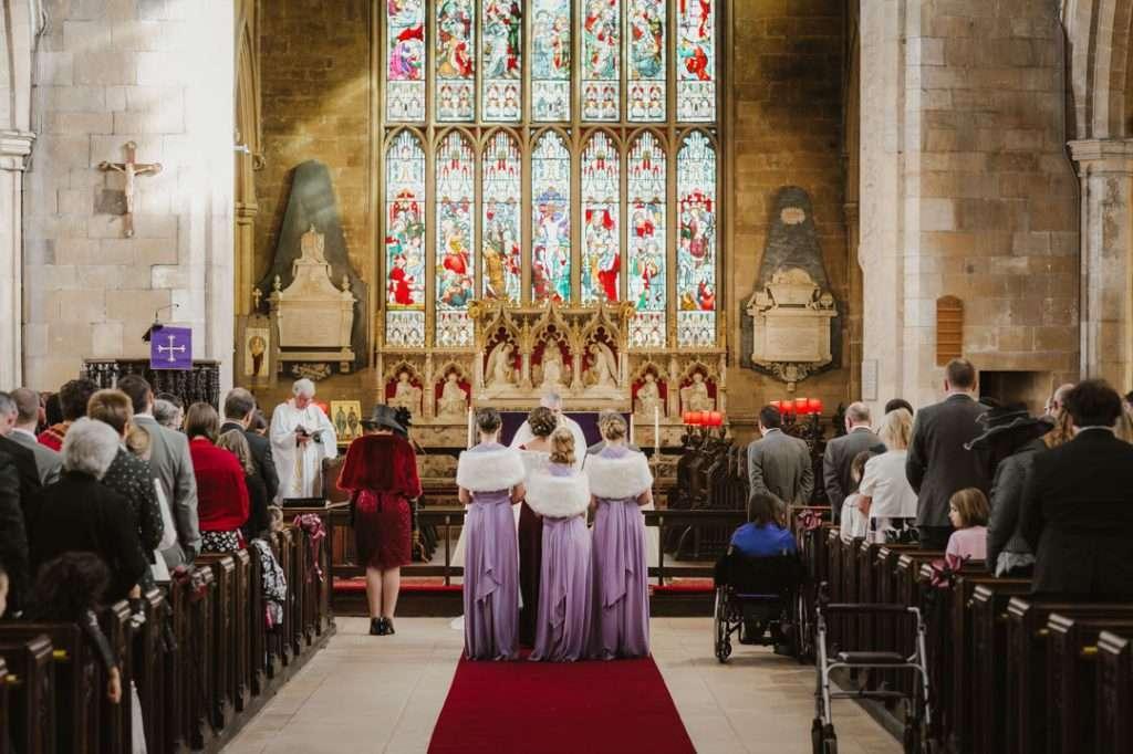 inside of church at wedding