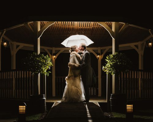 backlit bride and groom holding umbrella