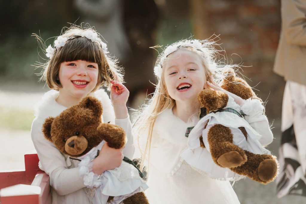 bridesmaids children with teddy bears
