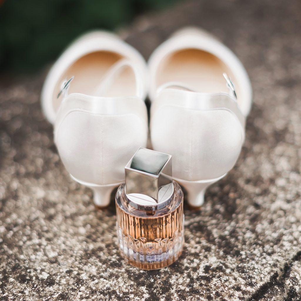 perfume and wedding shoes