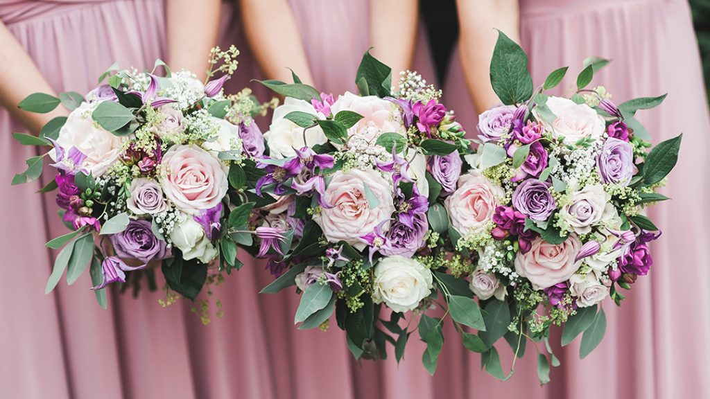 pink bridesmaids flowers