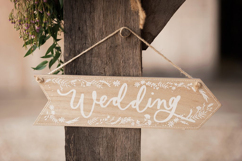 wedding sign in wood