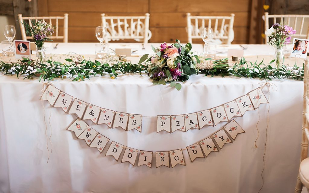 name banner of top table with flowers