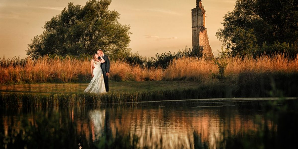 bride and groom at kirkstead abbey wedding photography