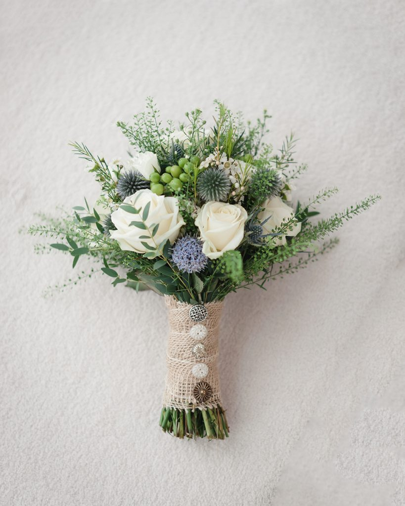 white and thistle wedding bouquet