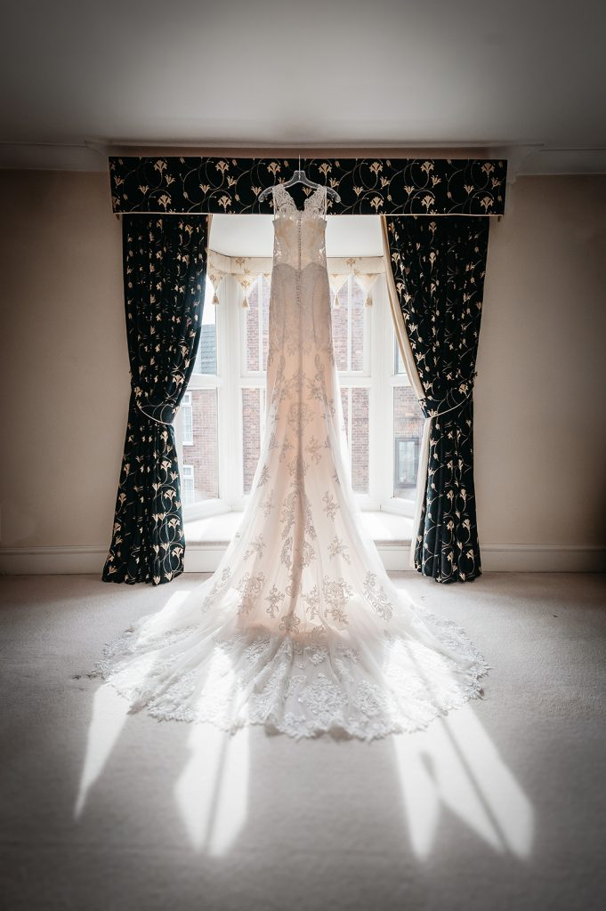 wedding dress back lit