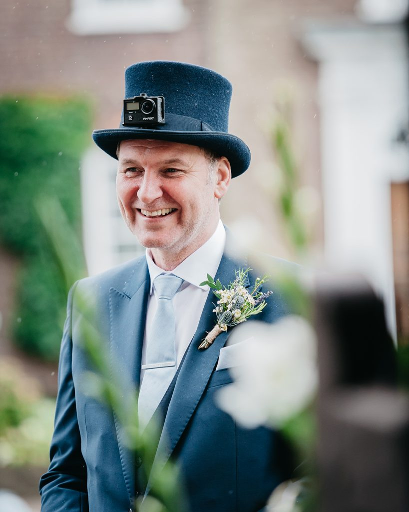 wedding top hat worn by father of the bride