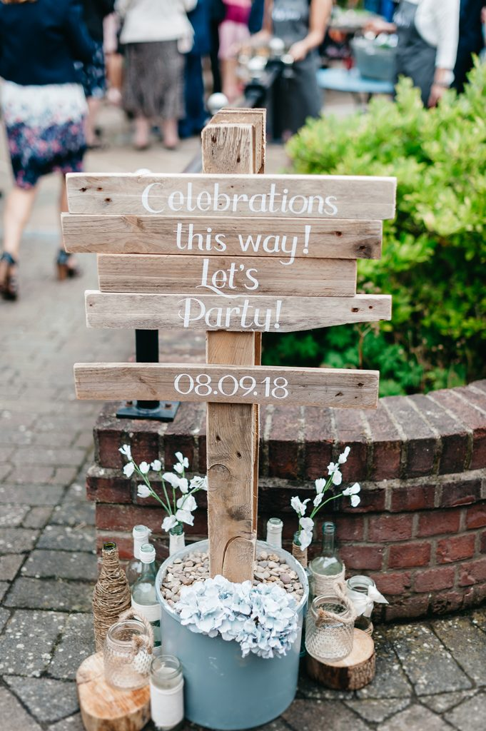 wedding sign at the granary barn wedding