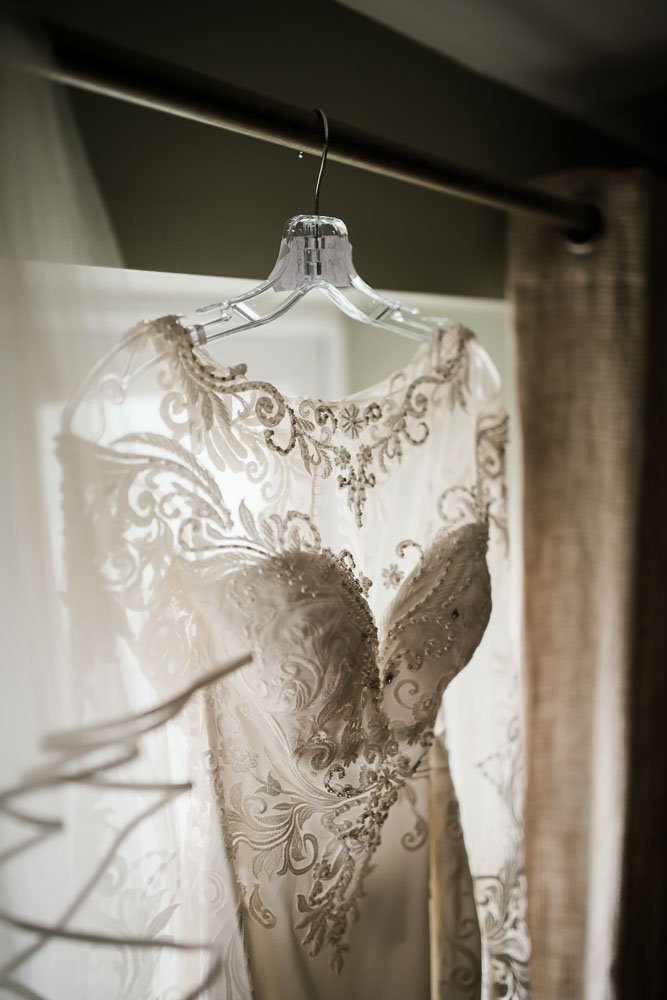 brides dress hung up