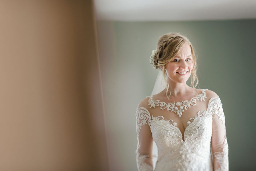 bride smiling at camera