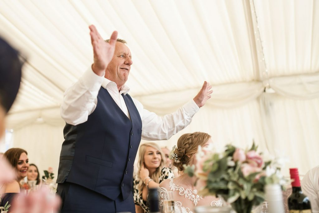 father of bride in blue waistcoat