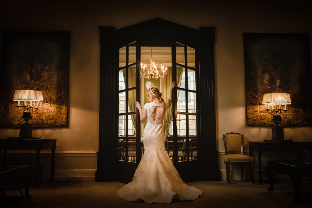 bride inside ceremony room at Hemswell Court wedding