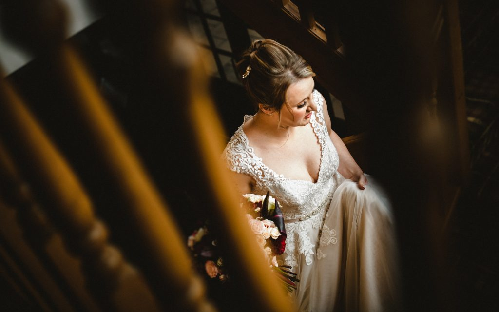 bride walking down the stairs