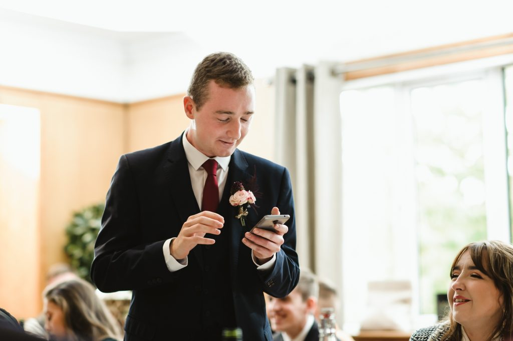 groom providing speech