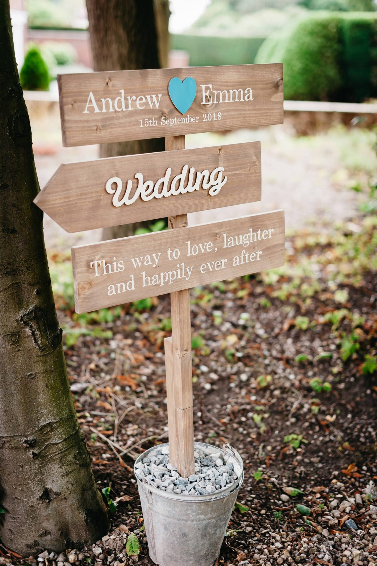 sign pointing to dower house hotel wedding