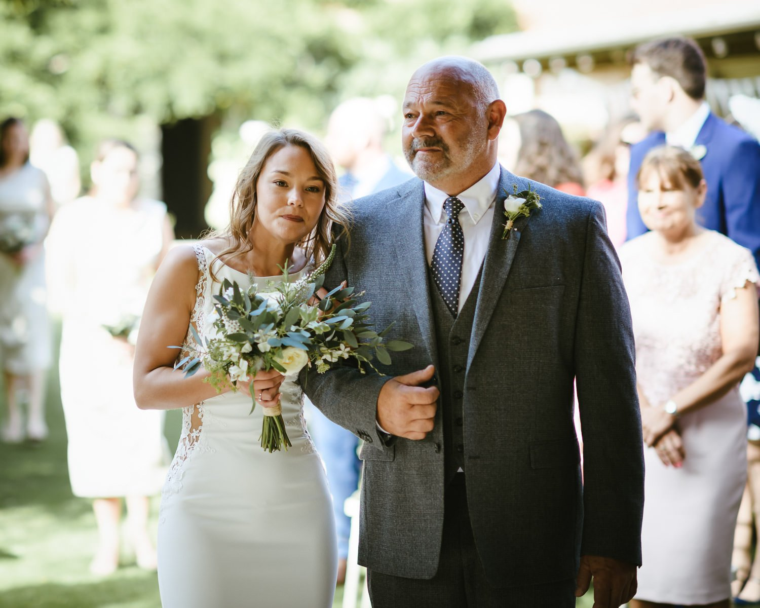 father and bride at Doddington Hall wedding ceremony