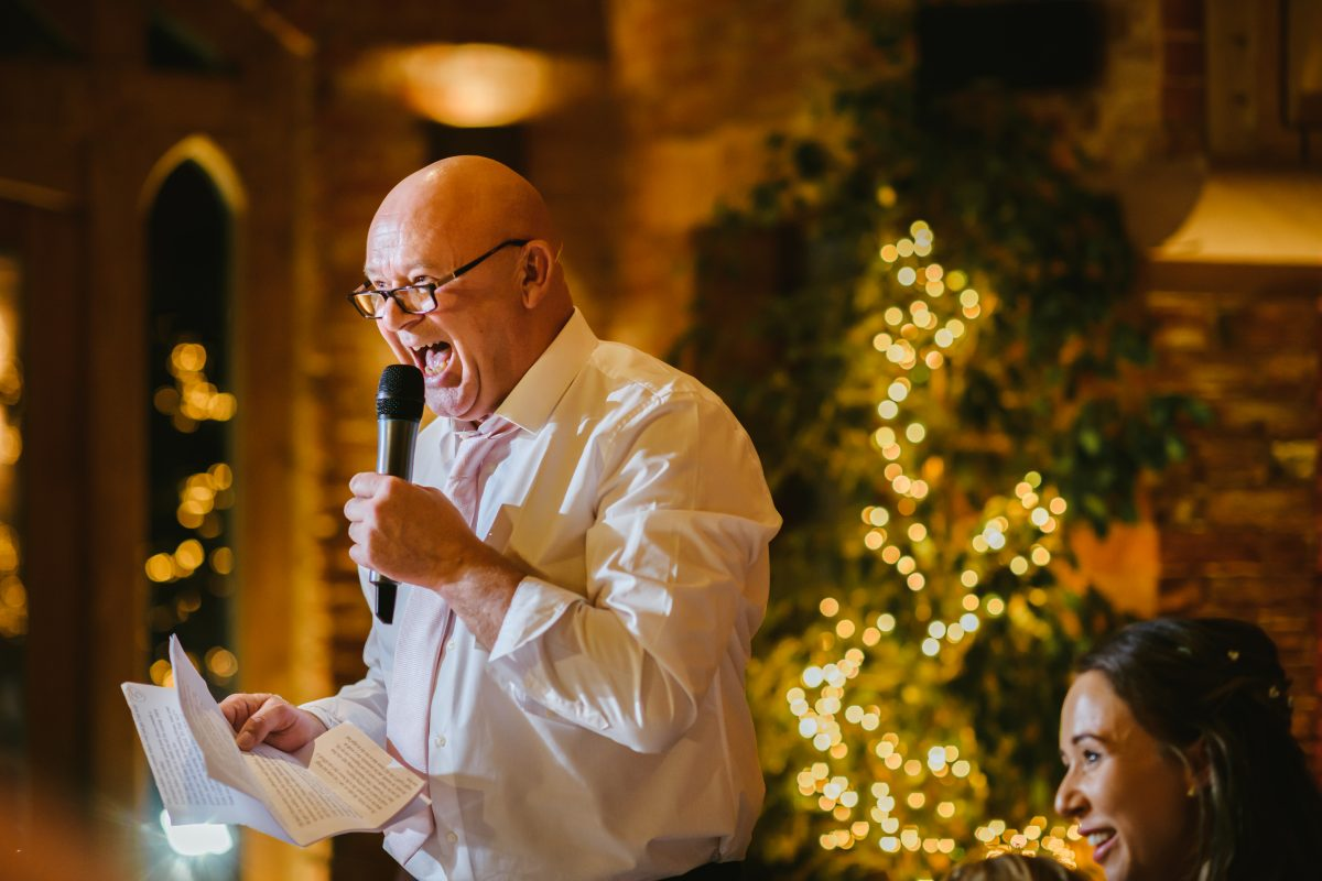 father of the bride giving speech at shustoke barn wedding