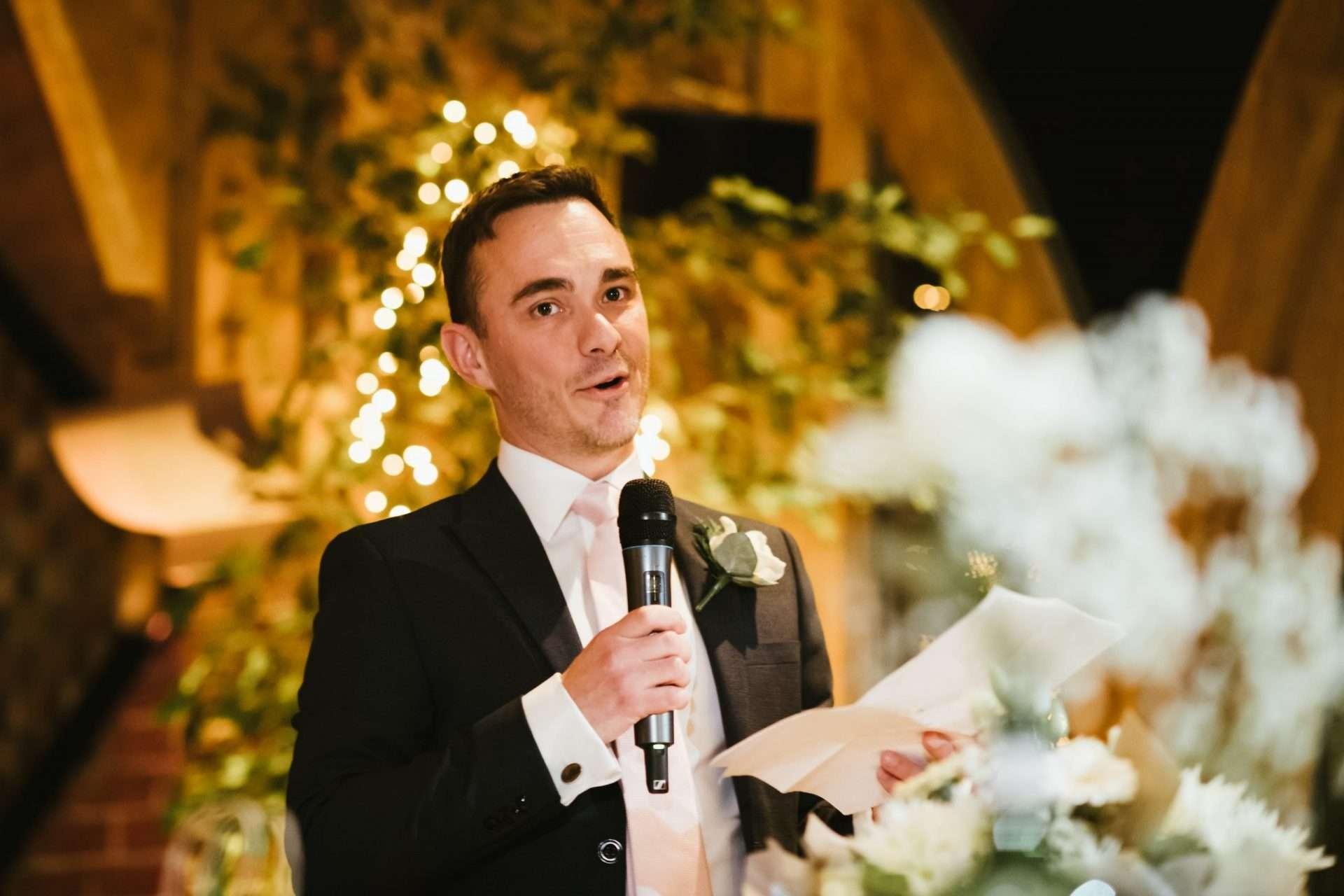 bestman giving speech at shustoke barn wedding